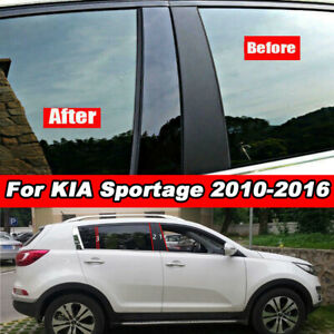 6Pcs Black Car Door Window Pillar Post Trim Cover Sticker For Kia Sportage 10-16