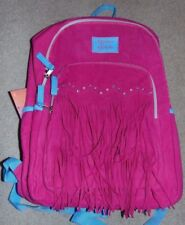 ~NWT Girls MADISON & DAKOTA Pink Fringe/Jewels Suede Backpack!! Cute FS:)~