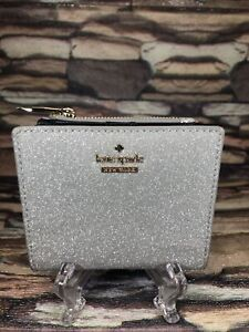 kate Spade Lola Silver Glitter Small L-Zip Bifold Wallet  Excellent!!!!
