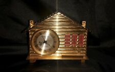 Vintage Swiss Made Brass Chalet Remembrance Eight Day Clock Alarm Music Box