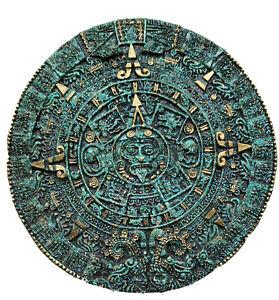 "Aztec Sun Stone Calendar 11.5"" Malachite Mayan Inca Mexico Vintage Wall Art"