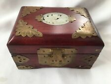 Old Chinese Wooden Carved Jade Brass Jewellery Trinket Box with Silk Interier