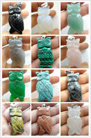 43*20MM Beautiful Hand-carved Owl Mixed agate PENDANT GEMSTONE LOOSE beads