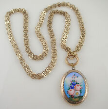 Victorian Antique Yellow Gold Filled Chain Enamel Flower Locket Pendant Necklace