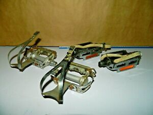 2 Pair Bike Pedals Campagnolo W Christophe Toe Clips & Rat Trap & leather strap