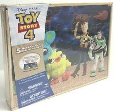 DISNEY TOY STORY 4 - Wood 5 Puzzles Storage Box Kids Educational Learn Jigsaw