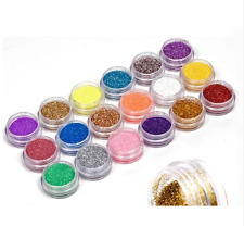 18 Colors Nail Art Glitter Powder Dust Decoration kit For Acrylic Tips UV Gel