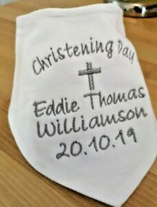 PERSONALISED EMBROIDERED WHITE BANDANA CHRISTENING BAPTISM BIB GOLD SILVER