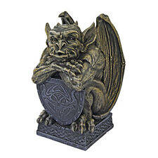 Gothic Loyal Castle Guard Gargoyle w/ Talisman Shield Sculpture Medieval Statue