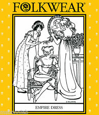 Folkwear Regency Gown/Empire Dress 2 Lengths w/Optional Train Sewing Pattern 215