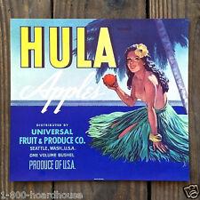Vintage Original HAWAIIAN HULA GIRL APPLE Fruit Crate Box Label Unused 1950s NOS