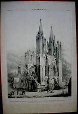 gravure lithographie XIX°.Cathédrale de Coutances par Laplante gravée par Godard