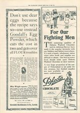 More details for 1918  antique print ww1 - advert- delecta watford chocolate,goodall's flour
