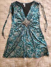 Studio Y Mini Dress or long Shirt Women's Size S Turquoise/Silver w brooch