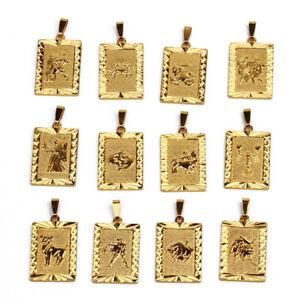 24K Gold Plated RECTANGLE PENDANT 12 Zodiac SUN STAR SIGN Scorpio Cancer Leo UK