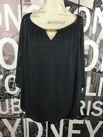 AGB Woman Black Blouse with Chain Neckline Size 1X