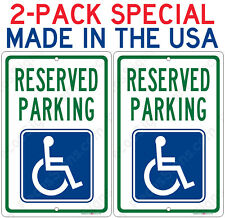 2-Pack Reserved Handicap Parking Sign ONLY $8.65 each Aluminum Metal Signs 8x12