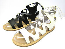 Ladies Spot on Lace up Leg Flat Gladiator Sandals F0976 Black 7 UK Standard
