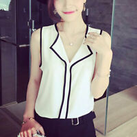 Women Summer Chiffon Lace Sleeveless Tank Vest Shirt Blouse Office Lady Fashion