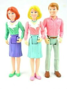 "Lot of 3 Vintage Playskool Loving Family Dollhouse Figures Dolls Dad, Moms 5.5"""
