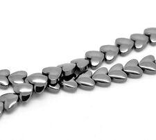 5 Enfilade Perles Hématite Coeur 9x8mm (environ 55 perles)