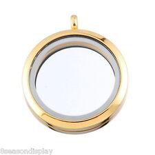 1 Stainless Steel Floating Living Memory Locket Pendant Gold Plated 3.6cmx3cm