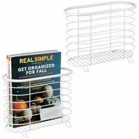 mDesign Metal Farmhouse Standing Bathroom Rack Magazine Holder, 2 Pack