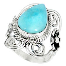 NATURAL BLUE LARIMAR 925 STERLING SILVER RING JEWELRY SIZE 6 K51768