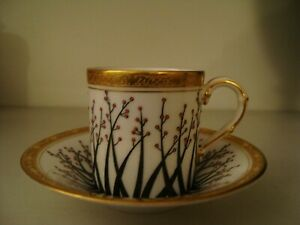 Striking Royal Worcester jewelled coffee cup and saucer with gilding  21/334S