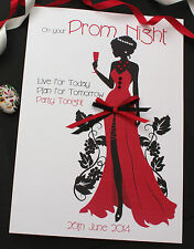 Personalised Card On your Prom Night / All Celebration Card / Lady in Red
