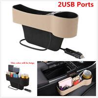 1Pcs Beige Car Right Side Seat Slit Crevice Storage Organizer Box W/2USB Ports