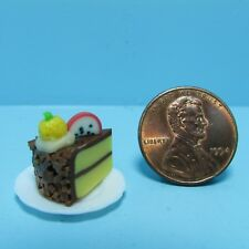 Dollhouse Miniature Slice of Cake Chocolate Frosting with Fruit on Top