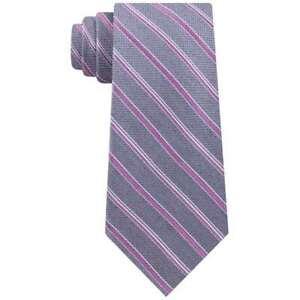 Michael Kors Men's Satin Asymmetric Weft Stripe Tie, Grey/Pink