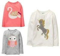 NWT Crazy 8 Sparkle Unicorn Swan Owl Girls Long Sleeve Shirt 2T 3T 4T 5T