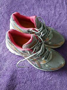 Asics Gel Equation Running Athletic Shoe Womens 8.5 Silver Pink orange gray EUC