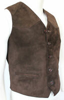 Mens Gents BROWN Suede 5 Button Vintage Designer Fashion Party Leather Waistcoat