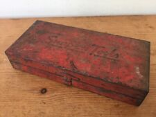 """Vintage Antique Snap-On Tools Small Embossed 6"""" Red Metal Patina Toolbox Case"""