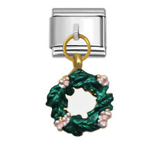 Christmas Wreath Italian Charm 9mm Stainless Steel Link for Bracelets XD976