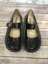 Women's Alegria Mules Clogs Shoes SZ 38 EU/8-8.5 US Patent Cheetah Leather Upper
