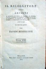 1822 – BERTOLOTTI, IL RICOGLITORE – LETTERATURA FOSCOLO VIAGGI NATIVI AMERICANI