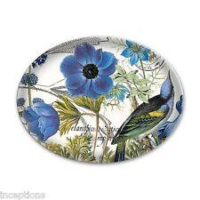 Michel Design Works Glass Soap Dish Blue Wildflowers Bird - NEW