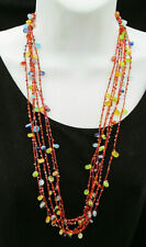 """Gorgeous Woven Orange String Necklace Jelly Bean Glass Beads Mixed Colors 32"""""""
