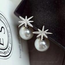Boucles d'Oreilles Clous Argenté Ear Jacket Cuff Etoile Perle Mode Class B10