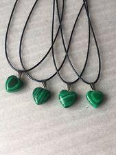 Small Heart shaped Green Malachite gemstone pendant and Cord Chain Jewellery