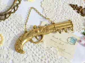 Magnificent Vintage Old Collectibles Rare Key Holder Bronze Pistol Germany 1950