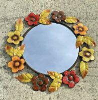 Vintage PRIMITIVE Metal & Glass Floral Poppy Sunflower Wall Mirror 25/25 ❤️sj8m