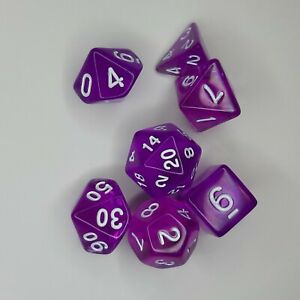 Purple translucent acrylic polyhedral dice DND Pathfinder AD&D w/bag