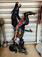 Vintage LOVELY Gothic Black Stallion Cast Metal Carousel Carnival Horse