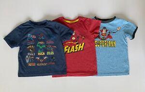 T-Shirt Lot Toddler Boy Size 3T Marvel Justice League Superman Flash Super Hero