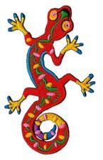 ak60 Geko Rot Salamande Tiere Insekt Aufnäher Bügelbild Applikation 8,0 x 9,0 cm